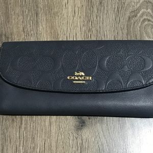COACH SIGNATURE EMBOSSED SOFT LEATHER WALLET